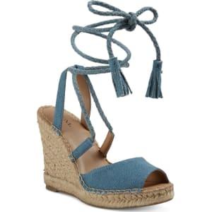 fd6cafcd50a Women's Maren Lace Up Wedge Espadrille Sandals - Merona Blue 8, Light Denim