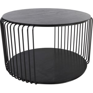 Debenhams Black Wire Cage Oak Round Coffee Table