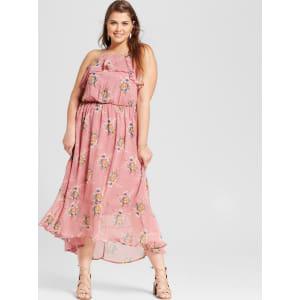 Women\'s Plus Size Floral Print Ruffled High Neck Maxi Dress Pink 1x - Lily  Star (Juniors\'), Purple
