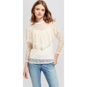 3a5177602270fa Women's Lace Ruffle Top Keyhole - Mossimo Supply Co. Cream Xl, Beige ...
