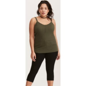 b898a6195f3 Ribbed Lace Trim Henley Cami in Green from Torrid.