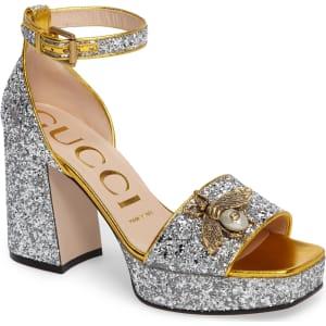 e2548db7ab34 Women's Gucci Soko Glitter Bee Sandal, Size 6.5us / 36.5eu ...