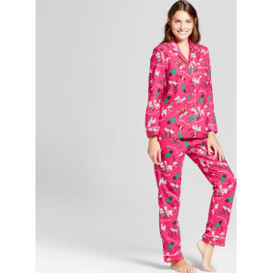 dc1ee18564 Women s Fun Santa 2pc Pajama Set - Wondershop Pink L from Target.