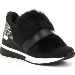 83cc16006 Michael Michael Kors Maven Snake Print Rabbit Fur Trainer Sneakers ...