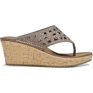 00a753e3dc58 Skechers Women s Beverlee Dazzzled Wedge Sandals (Taupe) from Famous ...