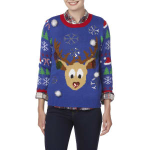 Joe Boxer Juniors Ugly Christmas Sweater Reindeer Girls Size