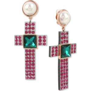 Betsey Johnson Two Tone Pink Pave Green Stone Imitation Pearl