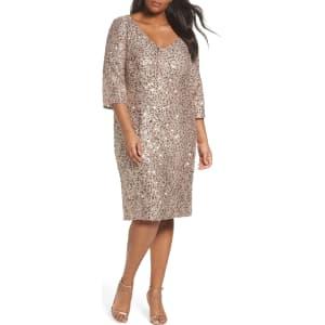 Plus Size Women\'s Alex Evenings Sequin Shift Dress, Size 24w - Beige