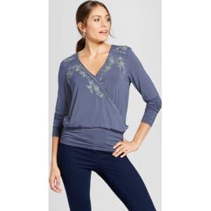 2f70af201d050 Women s Long Sleeve Embroidered V-Neck Banded Bottom Top - Knox Rose ...