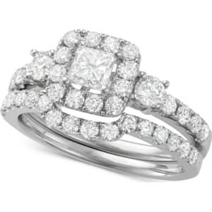 Diamond Princess Cut Halo Bridal Set 1 3 4 Ct T W In 14k White
