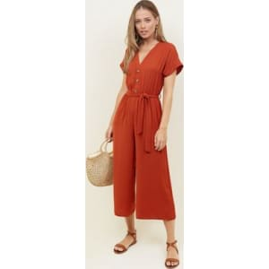3a7c82158a Orange Button Front Linen-Look Jumpsuit New Look from New Look.