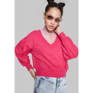 34d3c38b280b8 Women s Cropped V-Neck Sweatshirt - Wild Fable Pink M from Target.