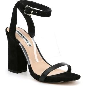 KARL LAGERFELD PARIS Raya Suede Transparent Vinyl Strap Block Heel Dress Sandals