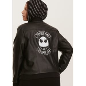 1d9ba5e57ddf8 Nightmare Before Christmas Jack Skellington Moto Jacket in Black ...
