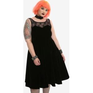 Black Velvet Lace Yoke Fit & Flare Dress Plus Size from Hot Topic.