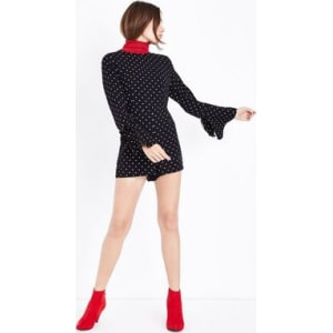 f5190fb5abd Black Polka Dot Bell Sleeve Playsuit New Look from New Look.