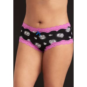 8a8919e6cde8 Skull Print Lace Trim Cheeky Panty in Black from Torrid.