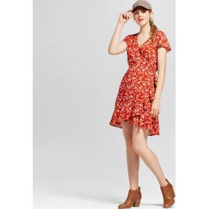 7642bdac Women's Short Sleeve Woven Wrap Dress - Mossimo Supply Co. Rust Xs ...