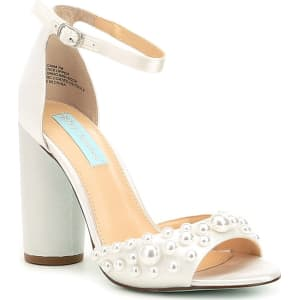 36a523d9910 Blue by Betsey Johnson Cara Pearl Detail Satin Block Heel Dress ...