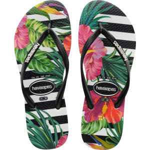 a6543d24344edd Havaianas Slim Tropical Floral Flip Flops Black White - Womens from ...
