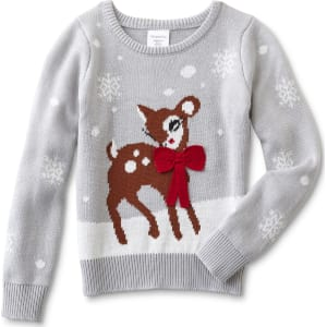 toughskins girls christmas sweater reindeer micro chip