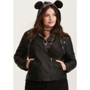 5711dc8a6dc35 Disney Mickey Mouse Hooded Moto Jacket in Black Red from Torrid.