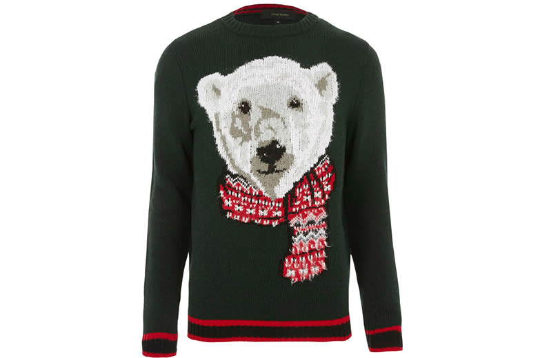 green polar bear jumper