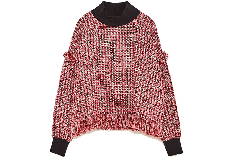 red tweed top long sleeve