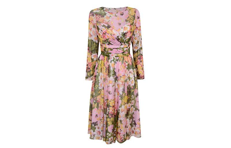 3708832f1e8bc9 Yellow Floral Print Mesh Round Neck Long Sleeve Midi Dress £79 Richard  Quinn for Debenhams - NOW £63.20