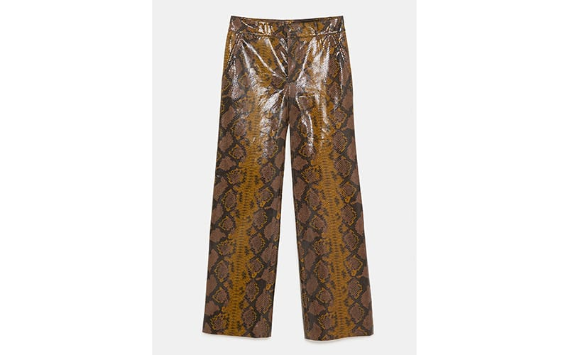 Shiny Python Print Straight Leg Trousers, £69.99 Zara