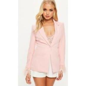 Pink Tailored Feather Cuff Blazer, Blush