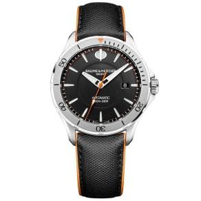 Baume & Mercier Clifton Club Men's Black Leather Strap Watch