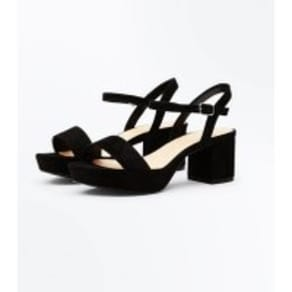 Girls Black Suedette Platform Block Heel Sandals New Look