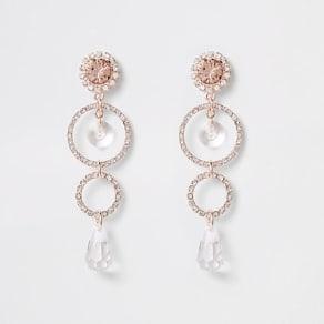 Womens Rose Gold tone circle pendant drop earrings