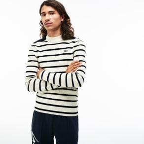 Men´s Lacoste LIVE Crew Neck Striped Interlock Sweater Size 5 - L White / Navy Blue / Blue