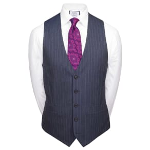 Airforce Stripe Slim Fit Panama Business Suit Wool Waistcoat Size w46 by Charles Tyrwhitt