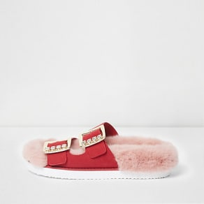 Womens Pink faux fur diamante buckle sandals