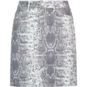 Light Grey Snake Print Denim Skirt New Look