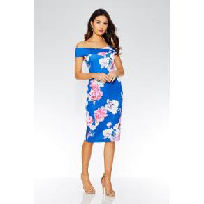 020d77933e Quiz Royal Blue Floral Print Bardot Midi Dress