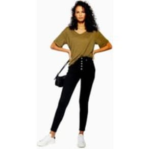 Womens Black Button Fly Jamie Jeans - Black, Black