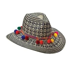 Safari Hat With Pom Poms Color: Black Size: OS
