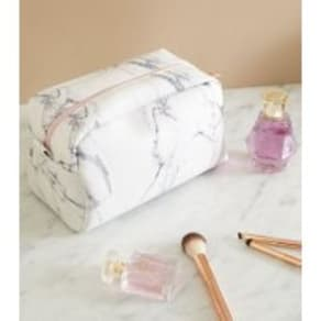 Off White Marble Effect Large Make Up Bag New Look