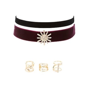Velvet Choker Necklaces & Rings Set