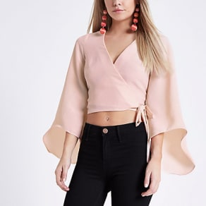 Womens Peitte Pink wrap flare sleeve top