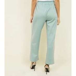 Pale Blue Satin Piped Side Wide Leg Joggers New Look