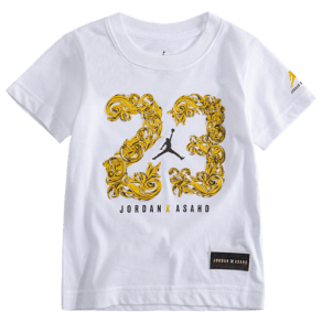 Boys Jordan x Asahd 23 Royalty T-Shirt - Grade School - White/Black/Gold Shimmer