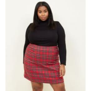 Curves Red Tartan A-Line Mini Skirt New Look