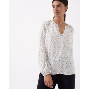 Multi Spot Open Neck Blouse