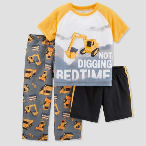 Boys' 3pc Poly Not Digging Bedtime Pajama Set - Just One You made by carter's Yellow 4