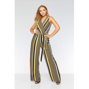 335e6801490a Quiz Khaki Mustard And Black Stripe Wrap Jumpsuit